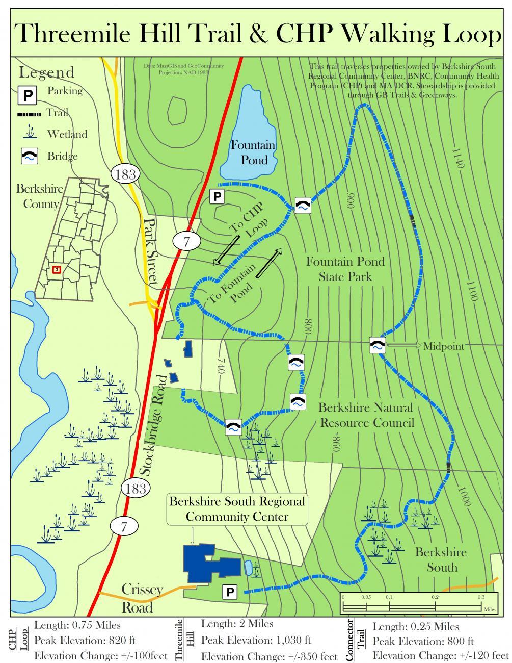 three mile hill trail map detail