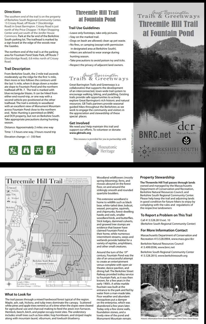 Great Barrington Three Mile Hill Trail Brochure